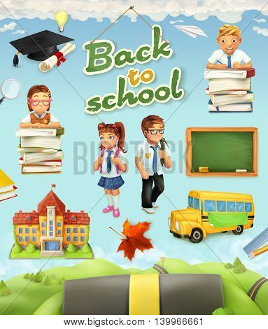 Back to school. Education vector icon set. Funny cartoon characters and objects on background