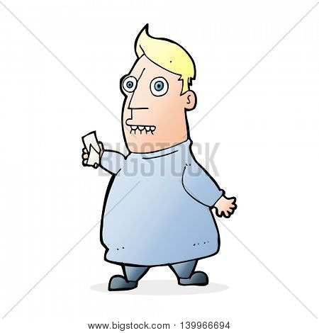 cartoon nervous man with tickets
