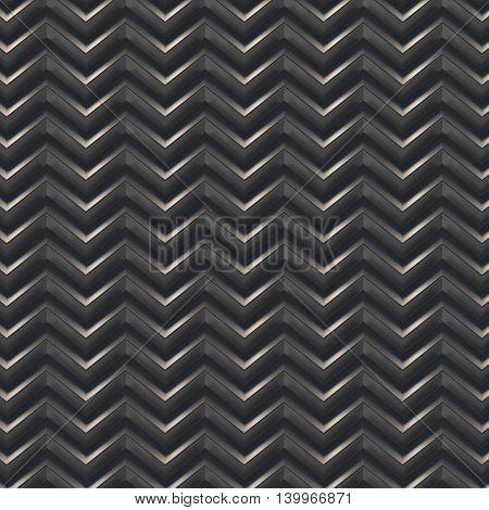 Black zig=zag abstract background. 3D render illustration