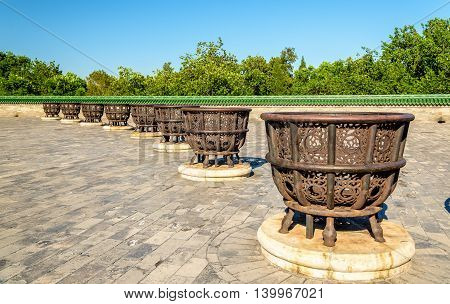 Cast-iron stoves at the Temple of Heaven in Beijing, China
