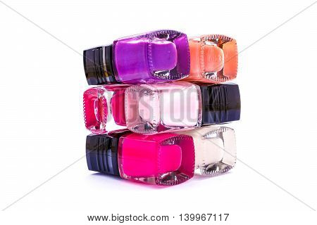 Nail care and polish, glitter isolated on white background.