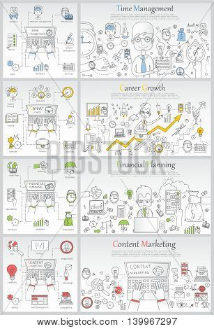 Doodle line design of web banner templates with outline icons of time management, career growth,big idea, finance planning, creative thinking.Vector illustration concept for website or info graphics.