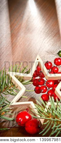 still life with Christmas star and decoration