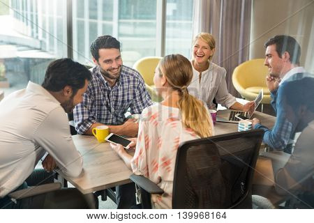 Business people interacting during a meeting in the office