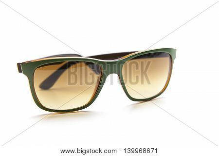 Green modern Sunglasses. Isolated on white background