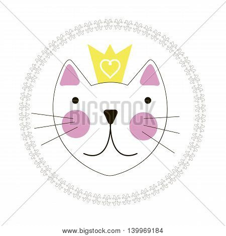 Cute Hand Drawn Cat with Crown Background EPS10