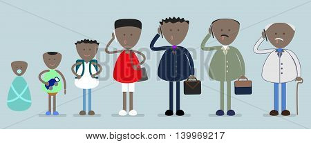 African,  american man from infancy to old age, vector
