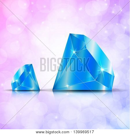 Diamond isolated on dark background, blue color, vector illustration