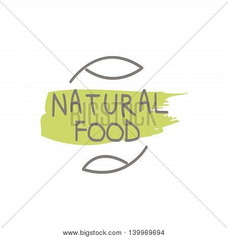 Natural Food Product Logo Design. Cool Flat Vector Design Template On White Background