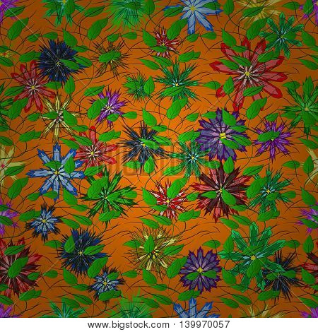 Vector Illustration of pattern with colorful flowers on orange background.