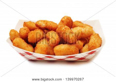 Crispy Deep Fried Popcorn Shrimp in a Takeout Container