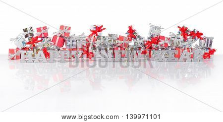 Happy New Year Silver Text And Gifts