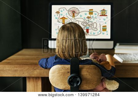 Child Watching Monitor Enjoyment Concept