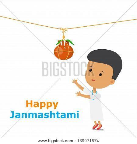 Krishna Janmashtami. An Indian boy tries to get the pot