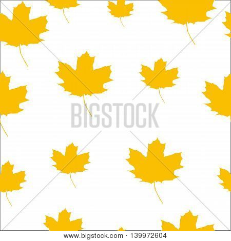 Autumn Set of Orange Maple Leaves on White Background, Vector Version. seamless texture
