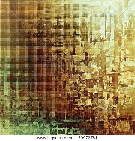 Vintage ancient background or texture with grunge decor elements and different color patterns: yellow (beige); brown; gray; green; cyan; white