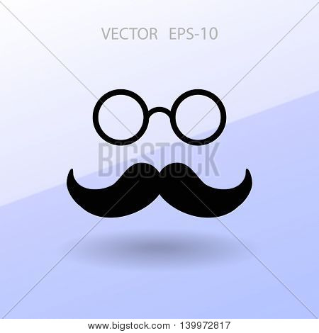 Flat long shadow Hipster retro style mustache and eyeglasses ico