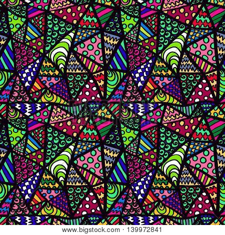 Zentangle Pattern Abstract Triangles Ornament Colorful