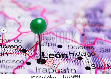 Leon pinned on a map of Mexico