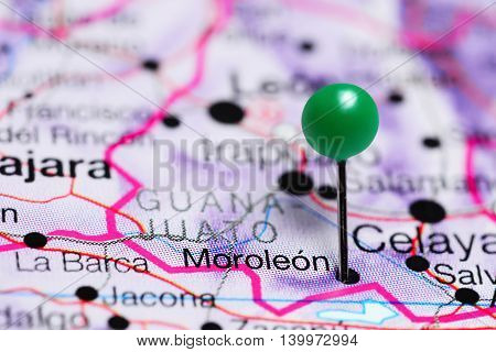 Moroleon pinned on a map of Mexico