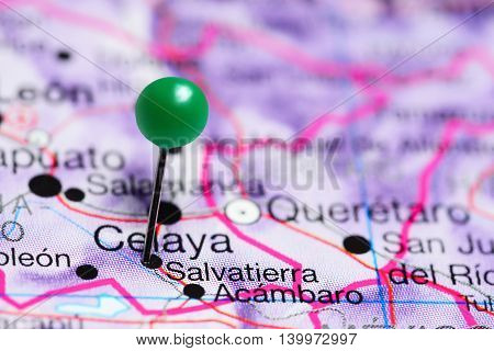 Salvatierra pinned on a map of Mexico