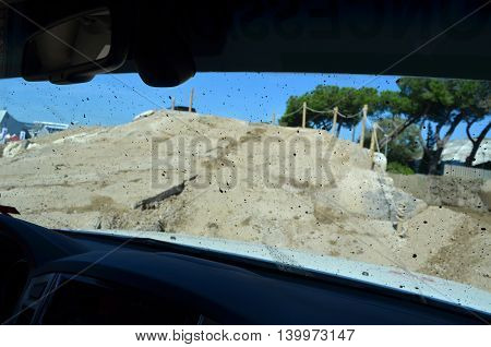 Inside a car during a 4x4 off-road event