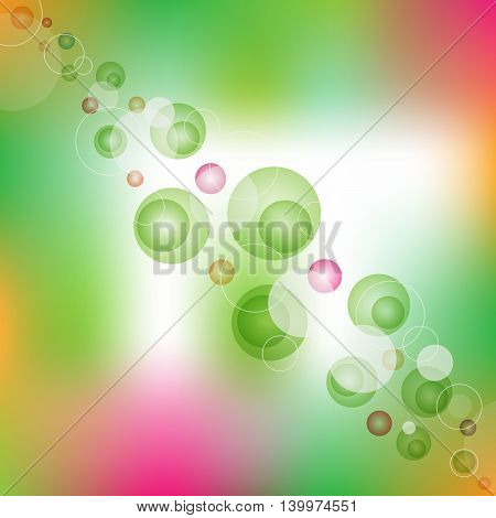 Colorful green, pink, orange and white background with circles