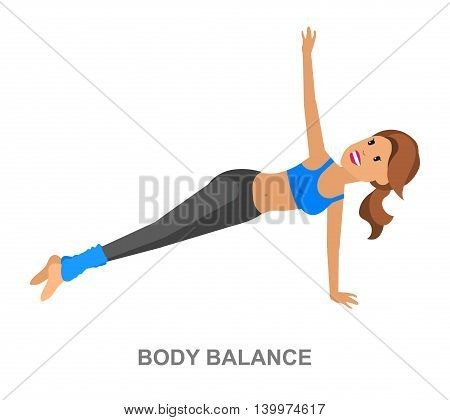 Vector detailed character fit woman and fitness workout. Happy and sporty girl