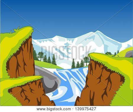 Vector illustration of the canyon and waterfall in mountain