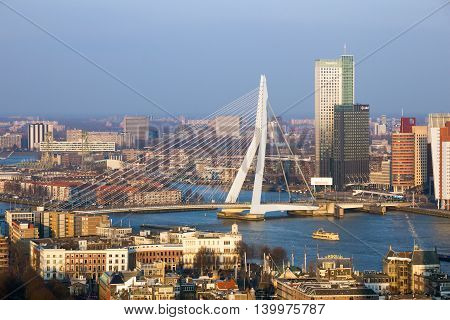 ROTTERDAM NETHERLANDS - MAR 16 2016: View on the Erasmus bridge and the city centre of Rotterdam