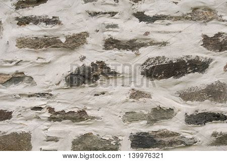 Thick Plaster Spread Over Stone Wall Background