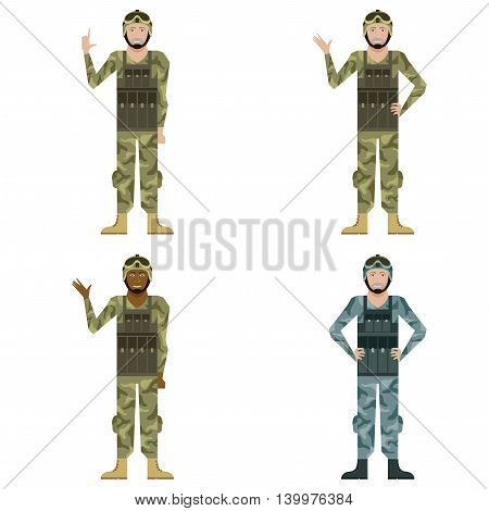 Vector image of the Set of Military men