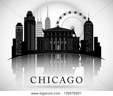 Chicago Illinois city skyline silhouette. Typographic Design