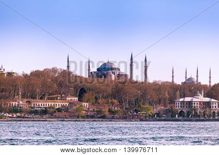 Hagia Sophia and Blue Mosque view from the sea. Istanbul. Travel Turkey.