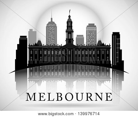 Modern vector Melbourne City Skyline Design. Australia