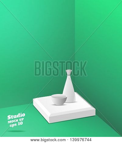 Vector,empty Green Studio Room With Corner Background ,template Mock Up For Display Or Montage Of Pr