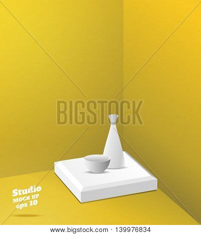 Vector,empty Yellow Studio Room With Corner Background ,template Mock Up For Display Or Montage Of P
