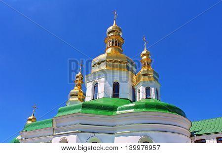 Domes of Holy Cross Church of Kiev Pechersk Lavra Orthodox monastery, Kyiv, Ukraine
