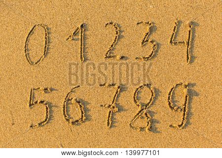 Numbers from 0 to 9 drawn on the sand to the sea.