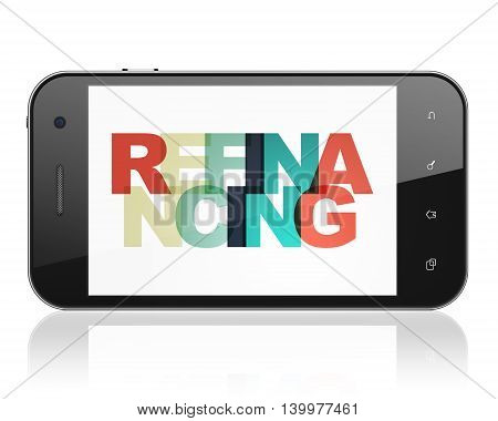 Finance concept: Smartphone with Painted multicolor text Refinancing on display, 3D rendering