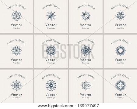 Lineart ornamental logo templates set. Vector arabic geometric symbols