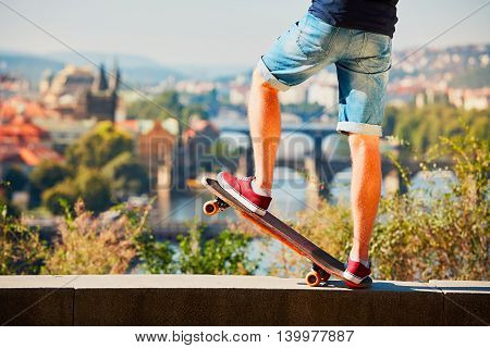 Skateboarder In The City