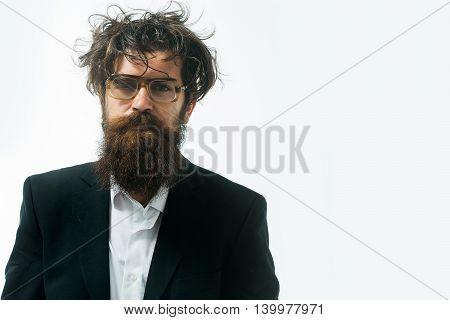 Bearded Man Crazy Scientist Of Professor In Glasses