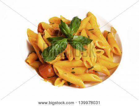 Italian food. Pasta penne with tomato sauce