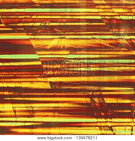 Old style design, textured grunge background with different color patterns: yellow (beige); brown; green; red (orange); pink