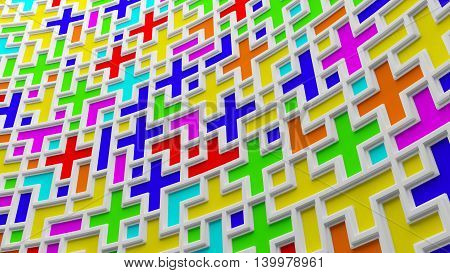 3d render abstract surface in ramdom color. Chaos mesh background rendered. Background with futuristic polygonal shape.