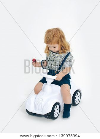 Blonde Small Boy Driver Isolated On White