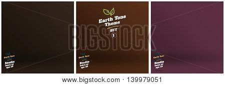 Vector,set Of Empty Earth Tone Brown Color Lighting Studio Room Background ,template Mock Up For Dis