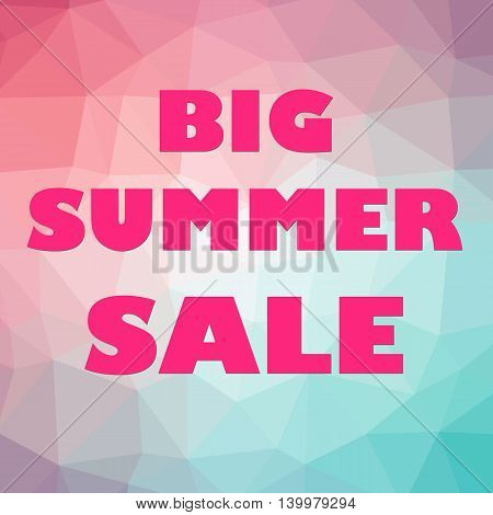 Big summer sale banner orange letters on polygonal purple teal pink background.