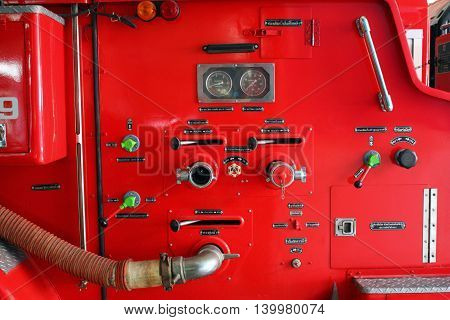 Fire engine red color control button and function for water spraying